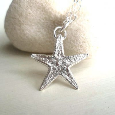 sterlig silver starfish necklace