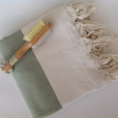 Elegant Organic Turkish Towel, Peshtemal, bath, spa, hammam, Natural Sof cotton, Gift for father, father's day, Handwoven, Green