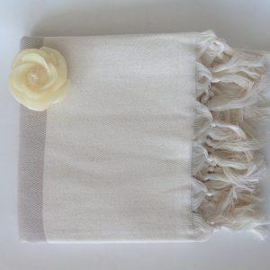 Elegant Organic Turkish Towel, Peshtemal, bath, spa, hammam, Natural Sof cotton, Beige, Gift for mother, Special Production, Handwoven