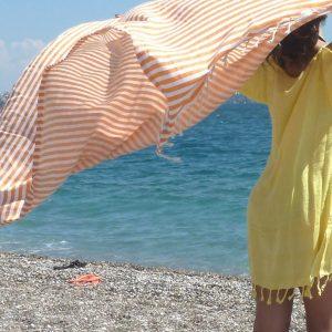 Ecofriendly Organic Turkish Towel, Peshtemal, beach towel, bath towel, pareo, sarong, yoga, wedding party, orange, summer gift, mother's day