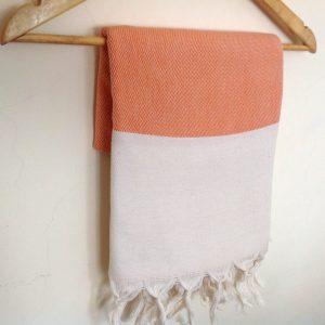 Elegant Organic Turkish Towel, Peshtemal, beach, bath, spa, swimming pool, hammam, Natural Soft cotton, Handwoven, Orange