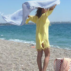 High Quality Turkish towel, Peshtemal, Bath towel, Beach Towel , Hammam, Yoga, Spa, Sports,  Gift, Blue Striped, Mother's day gift, natural