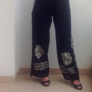 Turkish Traditional Handpainted Handmade Beach Pants, natural, Thin, Light, women Gift, moms, Dress for Bachelorette Party, Black