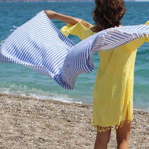 High Quality Turkish towel, Peshtemal, Bath towel, Beach Towel , Hammam, Bridesmaids, Yoga, Spa, Sports,  Gift, Blue Striped,