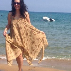 Turkish Traditional Handpainted Handmade Beach Dress, natural, cotton, Thin, Light, women Gift, moms, Dress for Bachelorette Party, Creamy