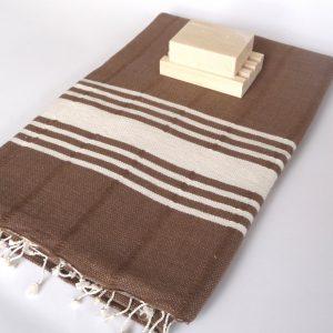Handwoven, Natural Soft Cotton Bath and Beach Towel (Peshtemal), Brown