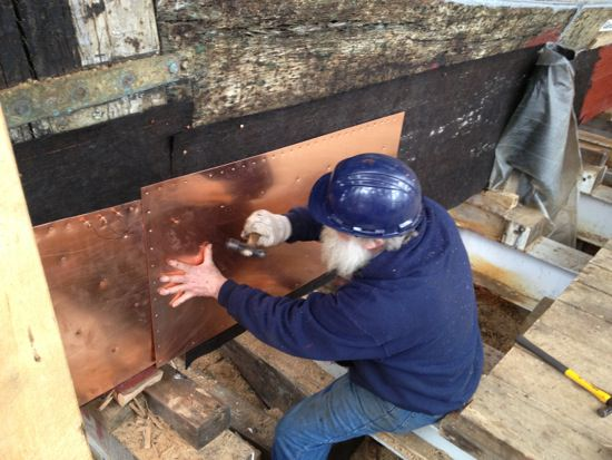 Irish Flax Felt under Copper on Keel