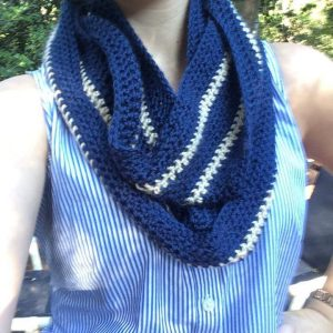 Classic blue and kaki striped infinity scarf