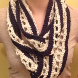 Hand Crocheted Nautical Infinity Scarf