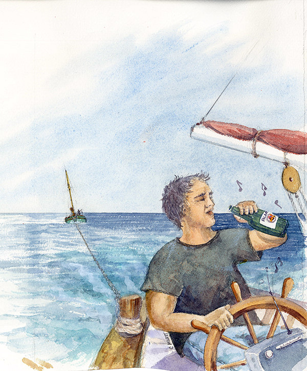 """""""Although not really a drinking man, Nico now upturned a rum bottle to his lips in classic pose"""" Tom Cunliffe. Illustration by Claudia Myatt"""