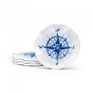 Q Squared NYC Portsmouth Nautical Sail Away S/4 Melamine Coasters