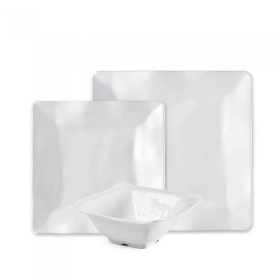 Q Squared NYC Ruffle Square 12pc Melamine Dinnerware Set