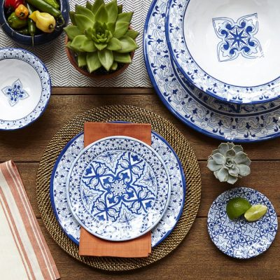 Q Squared NYC Talavera in Azul 12pc Melamine Dinnerware Set