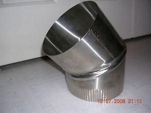 4 inch stove pipe Stainless Steel 30 Degree Single Wall Elbow Made in Maine, USA****