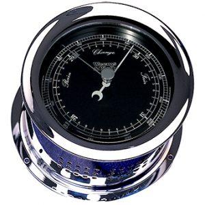 Weems & Plath Chrome Atlantis Nautical Flag Black Dial Barometer