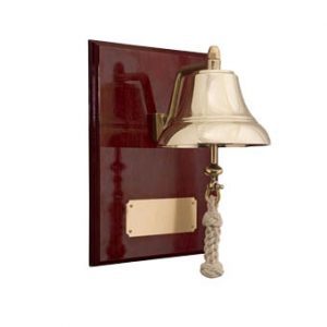 "Weems & Plath 6"" Brass Bell Mounted on 9x12"" High Gloss Mahagony Plaque with brass plate"