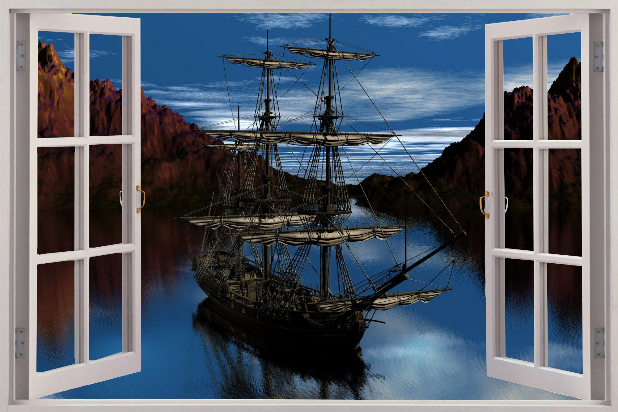 3D Window View Pirate Schooner Ship Wall Decal Sticker Frame Mural Effect  Home Decor Bedroom Living Room Kitchen Bathroom Nursery 505