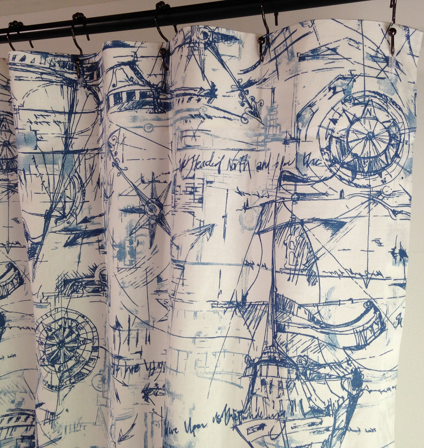 Beachhouse Shower Curtain Schooner Nautical Long 72 X 84