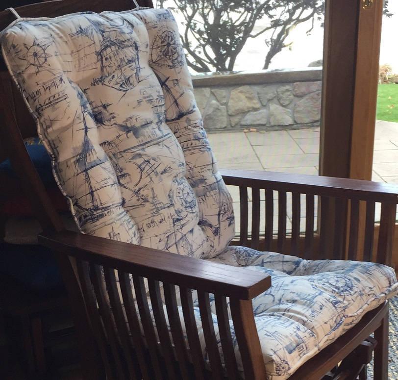 Glider Or Rocking Chair Cushions Set In Navy Blue White Nautical Schooner Ocean & Rocking Chair Cushions | u003eu003eu003eu003eHome Garden And Kitchen?
