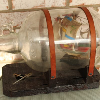 1 One Gallon Vintage Glass Jug Santa Maria Ship Inside Wood Plank Swords Pirate Sail Nautical Viking Boat Ship