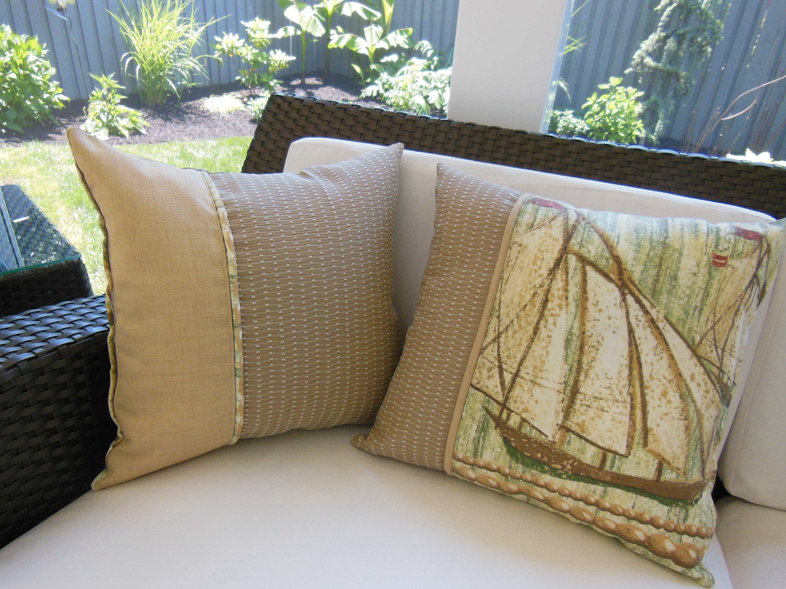 Outdoor Ship Pillow Beach Pillow Porch Pillow Vintage Style
