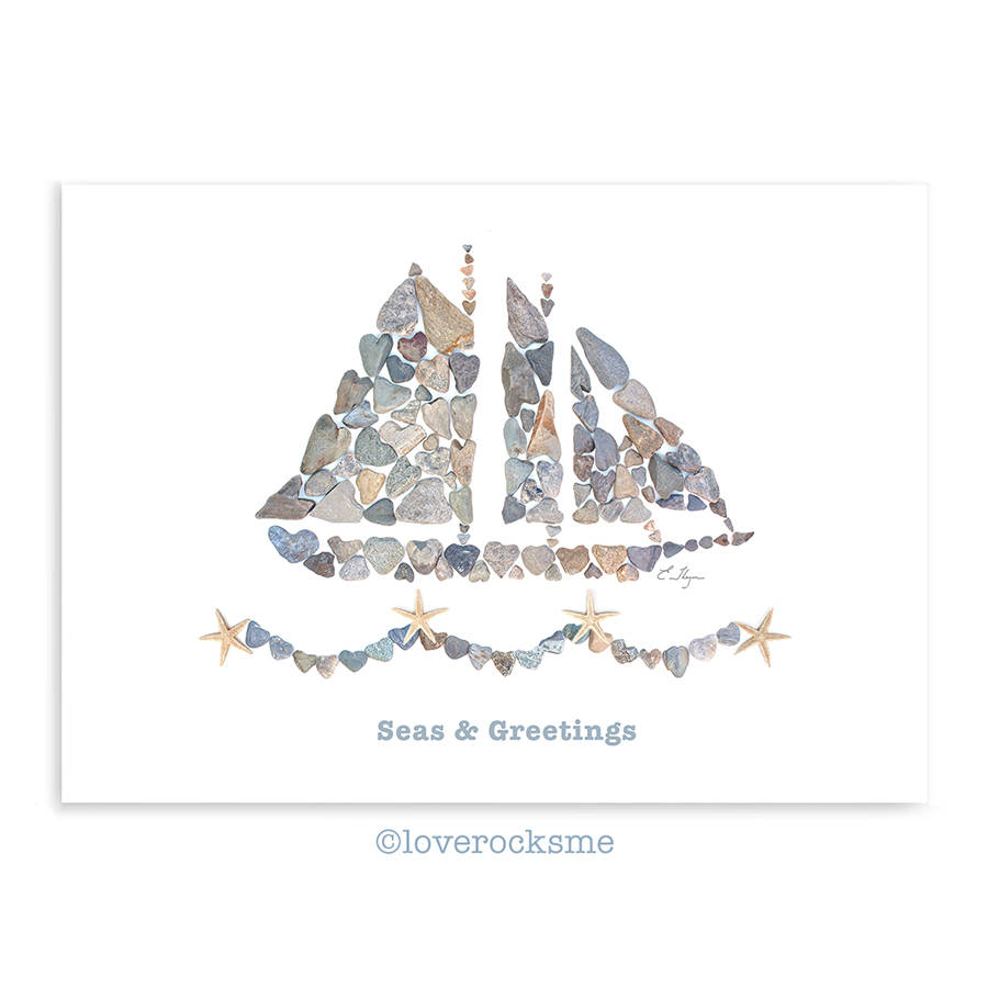 Seas \u0026 Greetings card, Christmas love, nautical holiday card, beach themed  Christmas card, coastal Christmas, love rocks pebble art