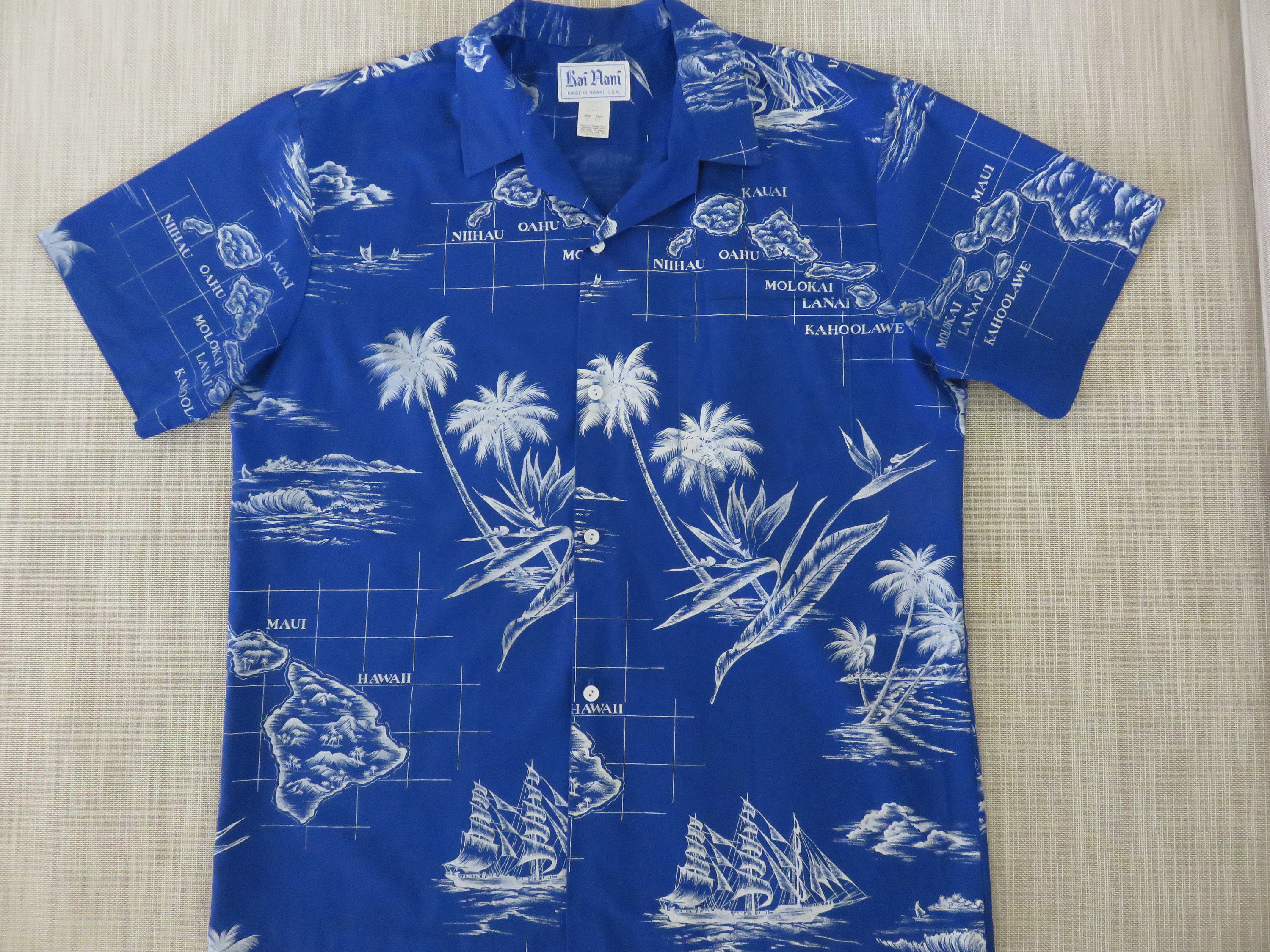 79c86cb7 Hawaiian Shirt Map Shirt RAI NANI Vintage Aloha Shirt Schooner Ship Hawaii  Islands Maui Bird of