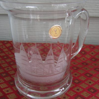 1 x TOSCANY ROMANIA, beer mug, juice glass, iced tea/coffee glass,  tall ship etched design, mailed from Canada