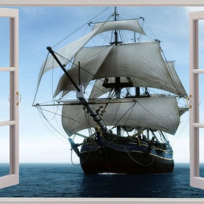 3D Window View Pirate Schooner Ship Wall Decal Sticker Frame Mural Effect  Home Decor Bedroom Living Room Kitchen Bathroom Nursery 499