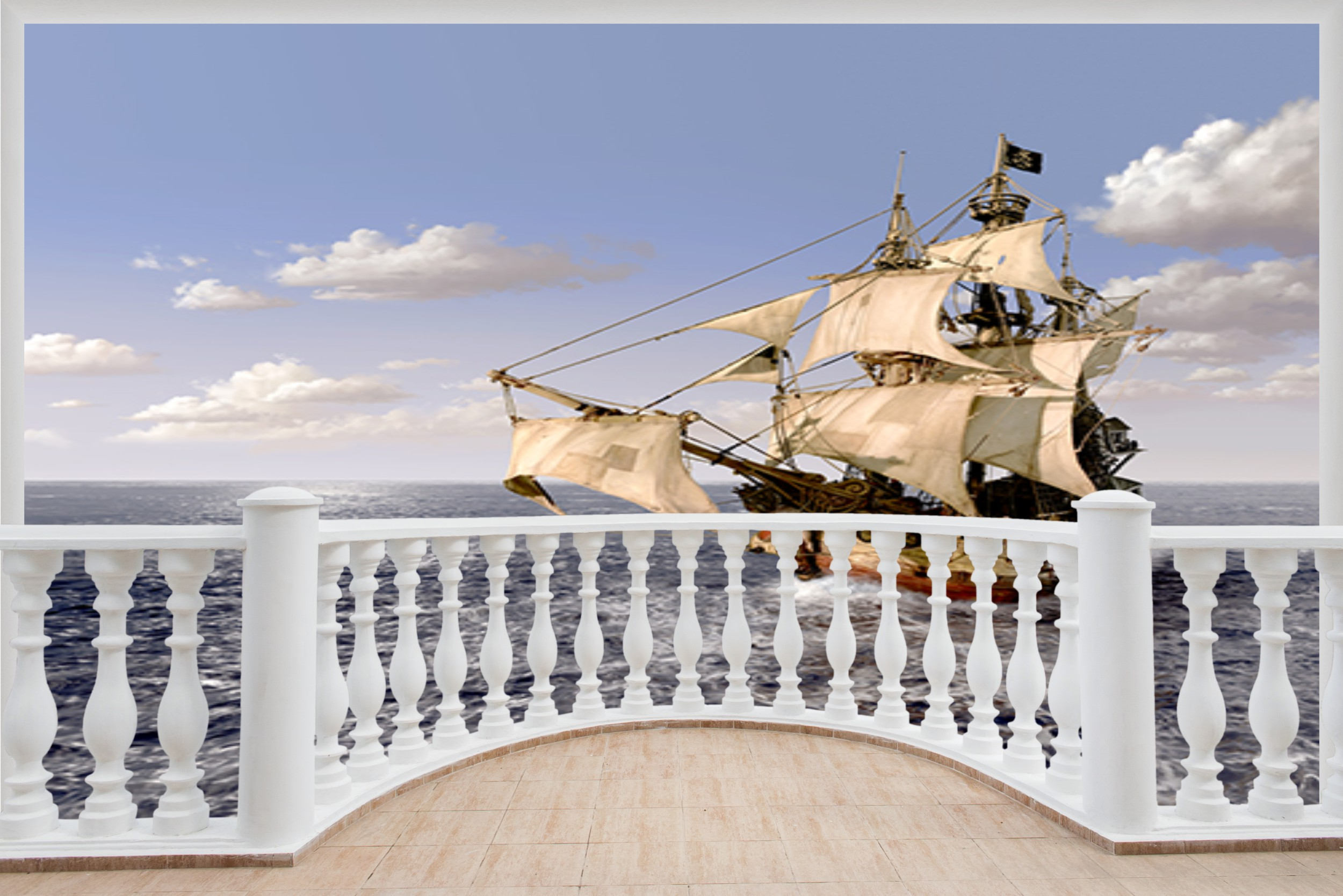 Huge 3D Balcony Pirate Ship Schooner Wall Stickers Decal Wallpaper 507
