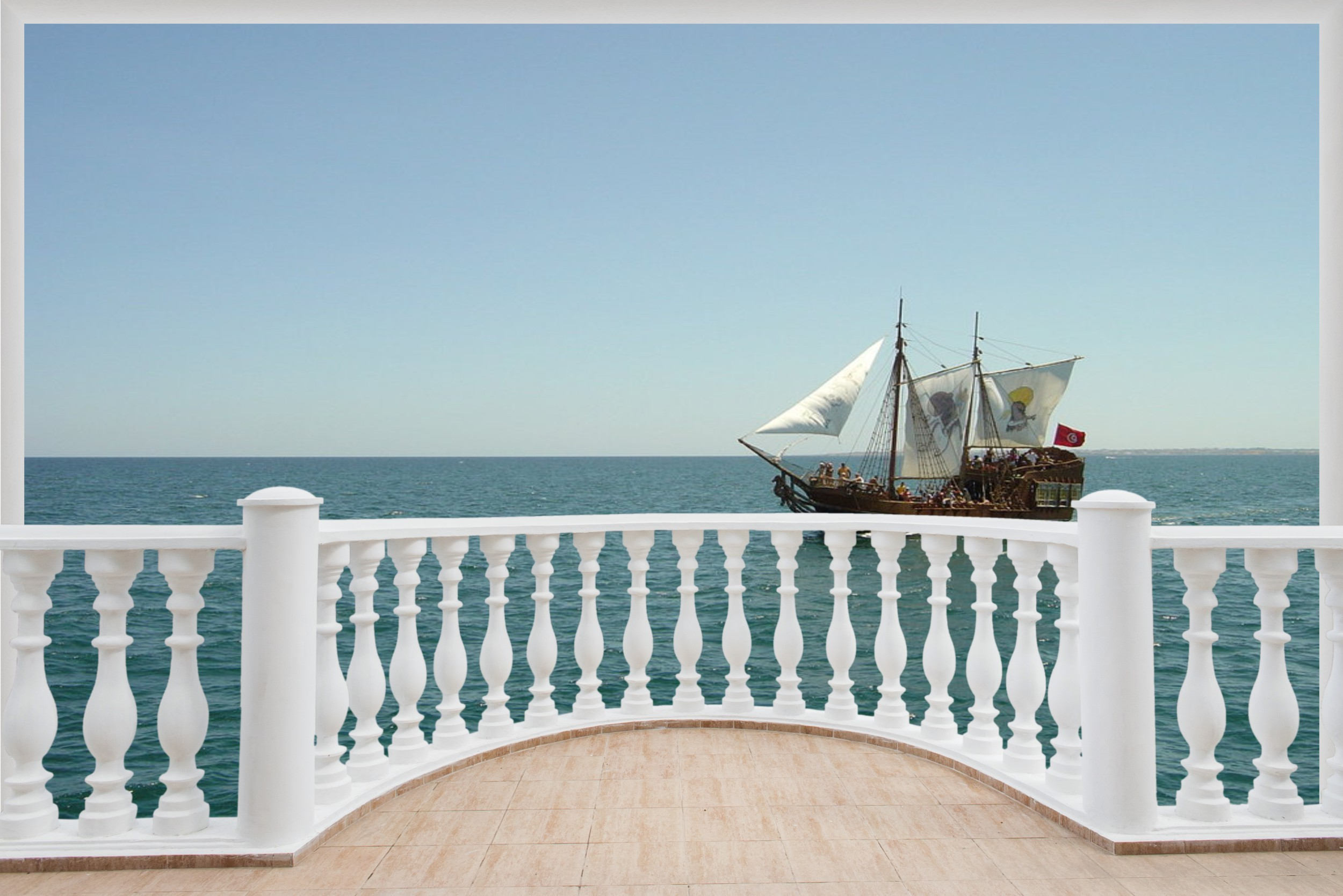 Huge 3D Balcony Pirate Ship Schooner Wall Stickers Decal Wallpaper 501