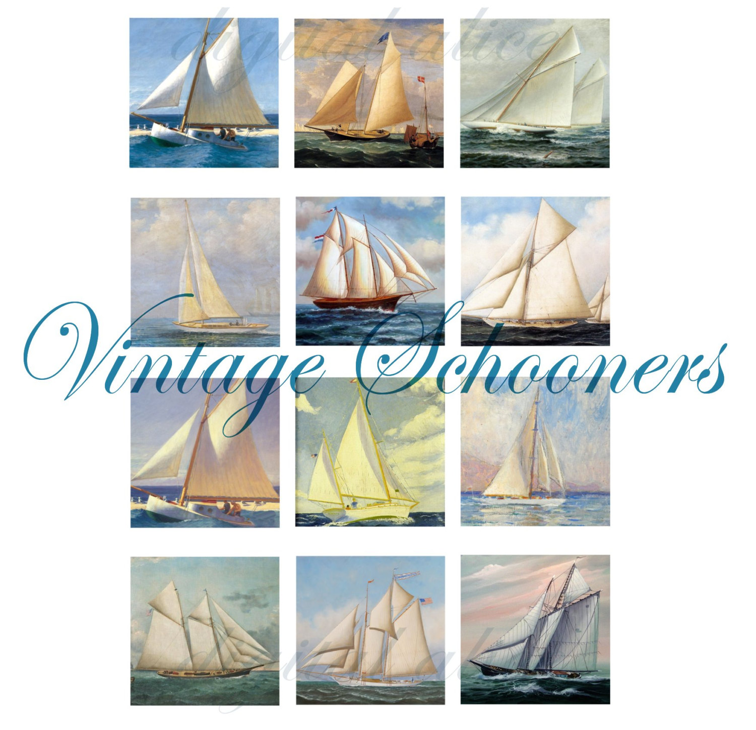 graphic about Sailboat Printable identified as SAILBOAT Portray electronic printable Squares-nautical Schooner squares - mini paintings - Quick Down load craft squares,tags,playing cards,stickers