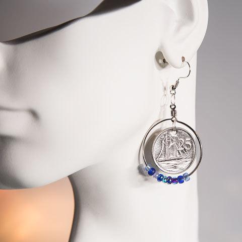 aaf7636a3ecd Cayman Islands 25 Cent Coins Handmade Earrings | Schooner Chandlery