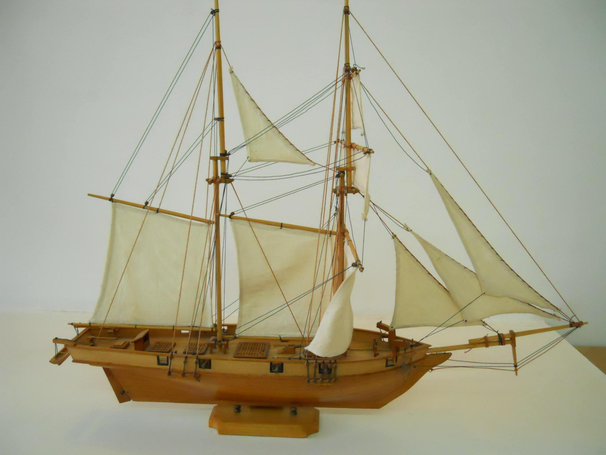 Vintage Wooden Model Shipboat Handmade By Mauritian Artisans Long 72 Cms America Schooner The Albatross 1840 Schooner Chandlery