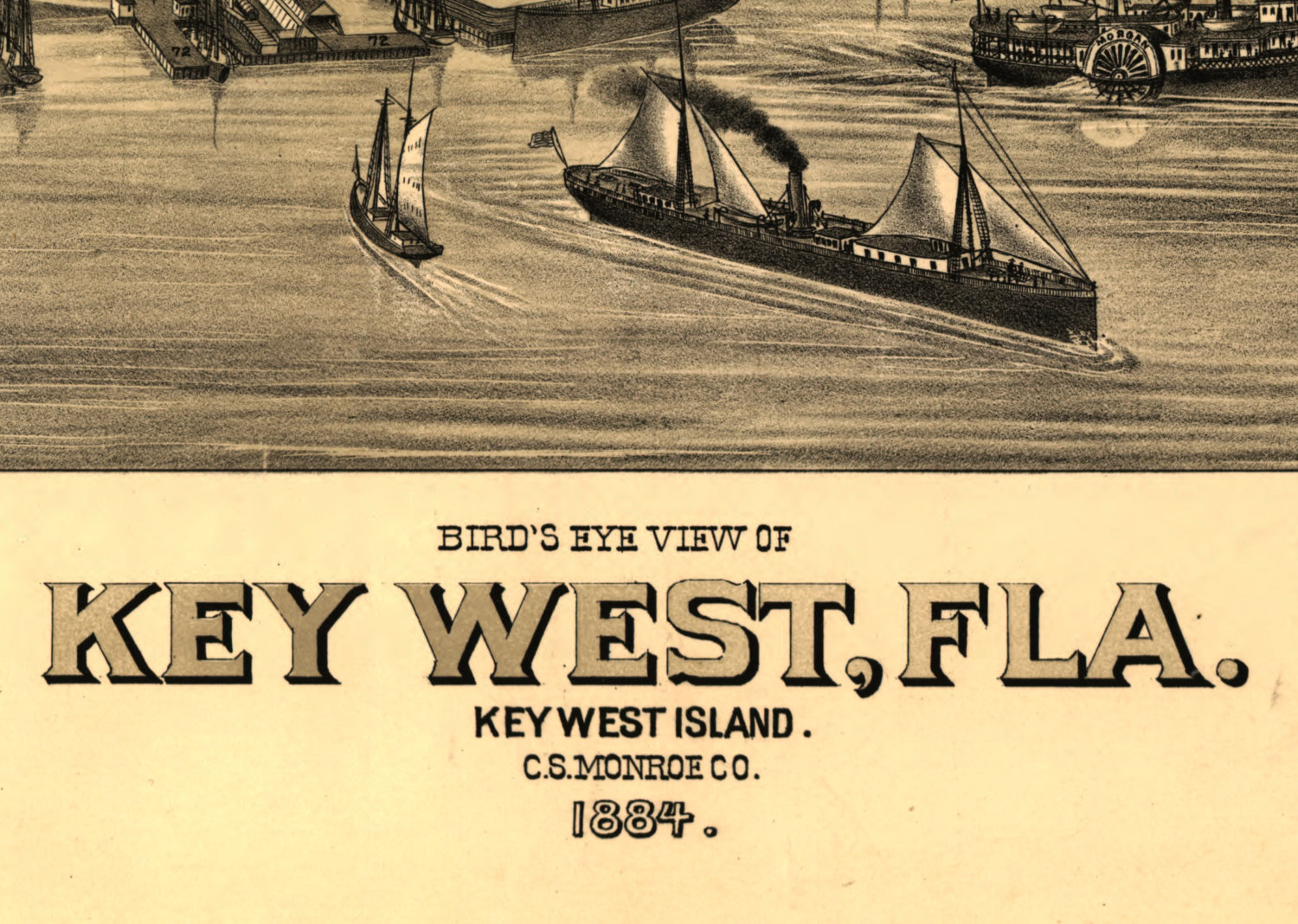 graphic about Printable Map of Key West identify Birds Eye Map of Magic formula West, Florida - 1894. NOT A POSTER Superior Top quality Artwork Print Nautical Caribbean Keys Poster Schooner Wharf Sailing Schooner