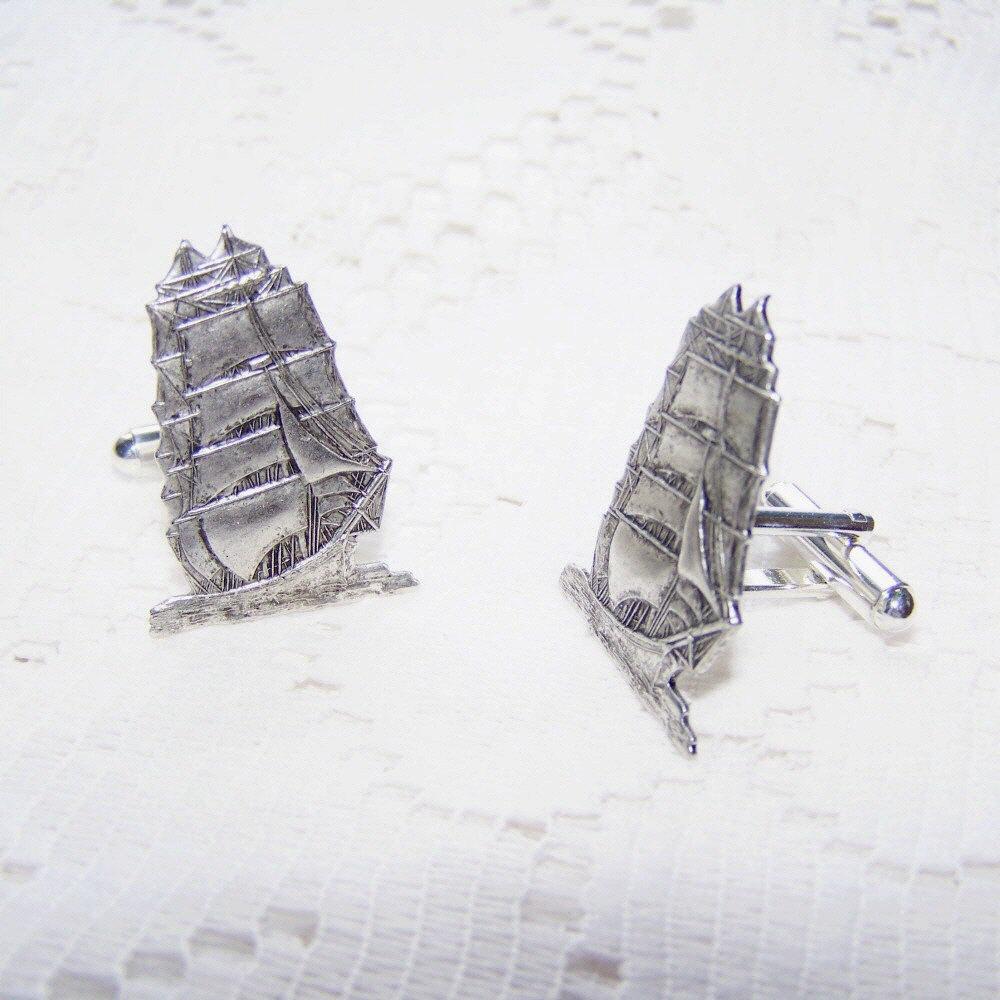 Clipper Tall Ship Cufflinks with Presentation Box