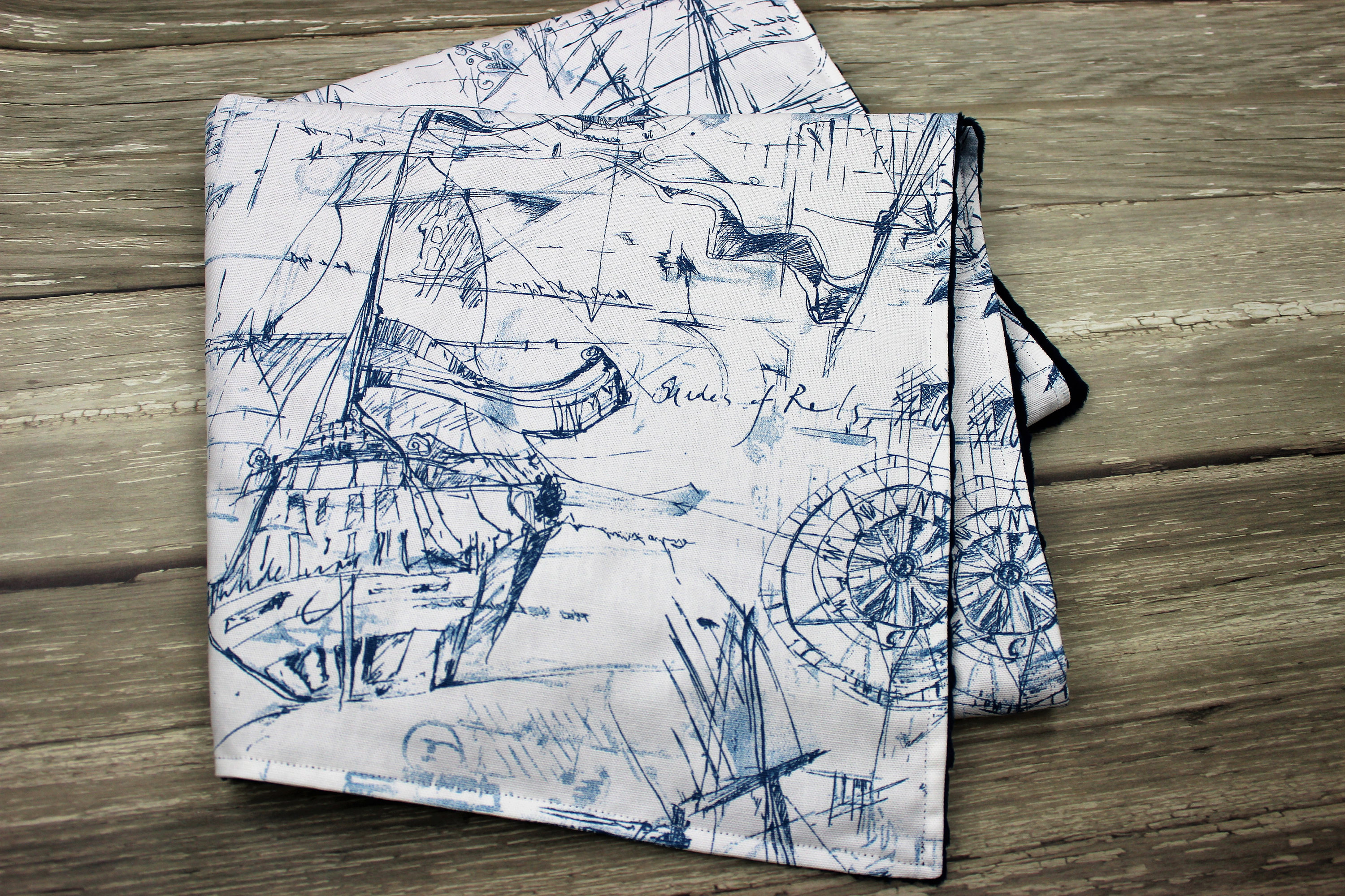 Nautical Themed Baby Blanket Schooner Nursery Vintage Decor