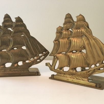 Vintage Pair Of Brass Ship Bookends Maritime Tall Ships Schooners Nautical Coastal Ocean Seaside Bookcase Decor
