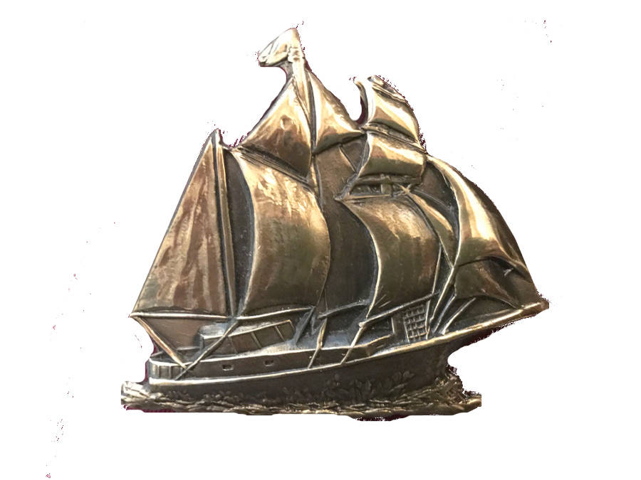 Vintage Sailboat Belt Buckle - Nautical - Sailor - Pirate - Schooner - Sail  - Solid Brass - Art - Waves - Viking - - Mothers Day Gift Idea