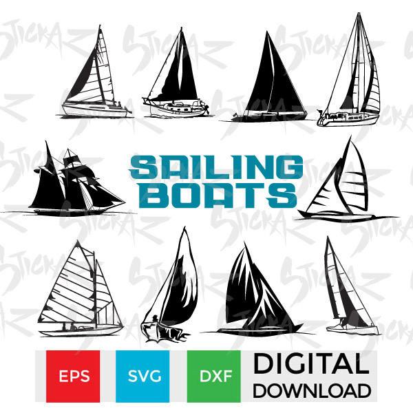 10 Sailing Boats Vessels Yacht Svg Eps Dxf Jpg Cut Files Stencils Decal Art Scrapbook Instant Download Schooner Chandlery