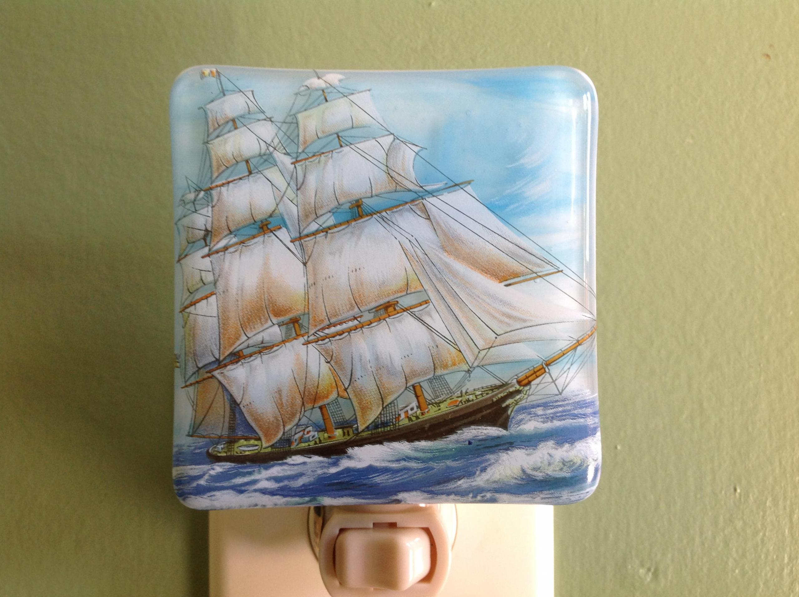 Tall Ship Fused Glass Night Light Pirate Ship Nightlight Schooner Nautical Sailing Vessel Topsail Schooners Brigantines Schooner Chandlery