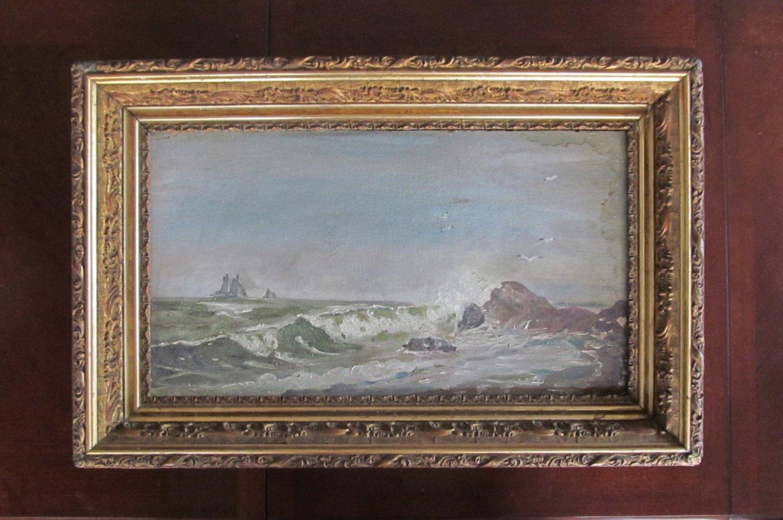 1860 S Oil Painting Seascape Maritime Schooner Ship Victorian Gesso