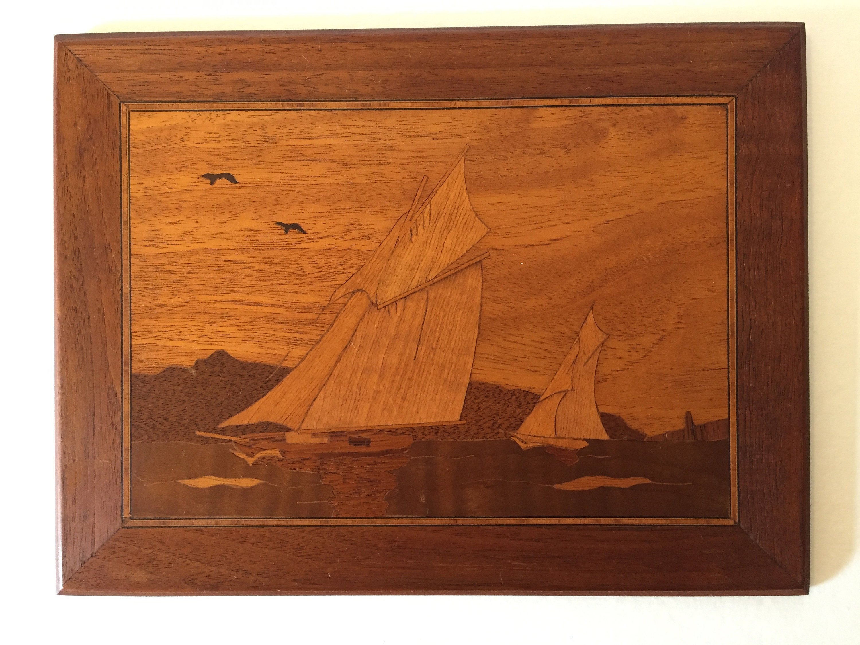 Vintage Wood Inlay Marquetry Handcrafted Picture Of A Cabin In The Woods,  Inlaid Wood Artwork