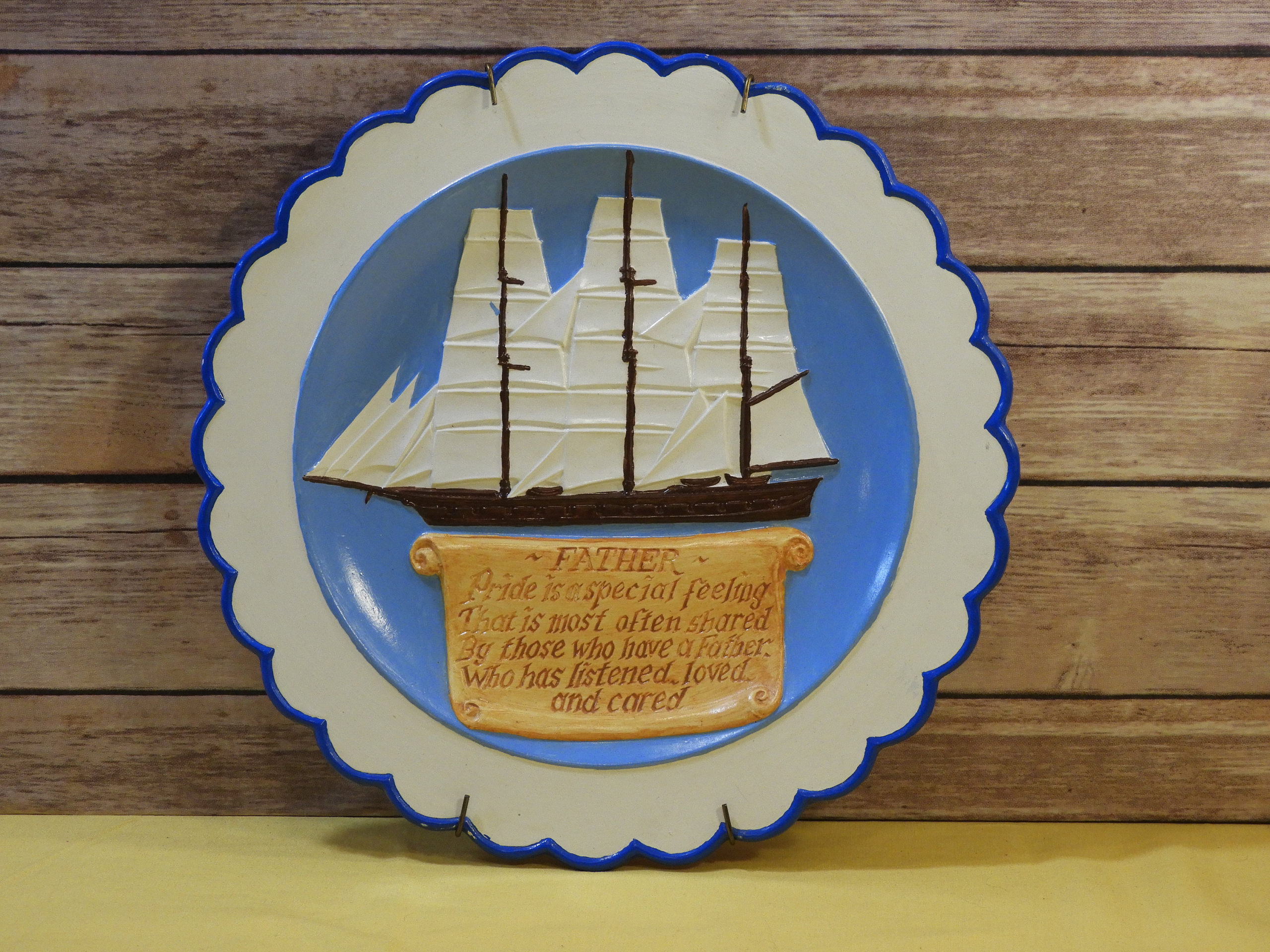 Vintage Fathers Day Art Nautical Theme Decor Schooner Ship Decoration Blue White Ceramic Wall Plate Round Decorative Wall Hanging Schooner Chandlery