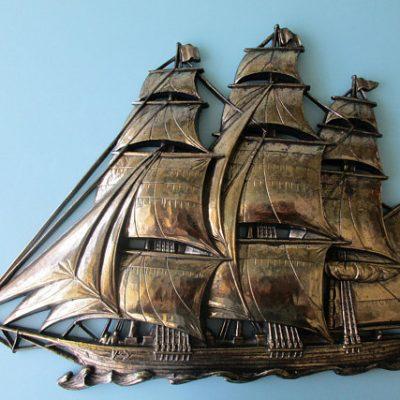 "12x16"" Gold Clipper Ship Wall Art Rare 1960s Syroco Company 3D Nautical Wall Decor Sailing Schooner Sharply Detailed w Crew n US Flag"