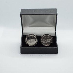Canada 10 Cent Coin Elizabeth 3rd Portrait Cufflink wStainless Steel Gunmetal Back