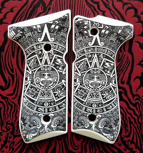 Beretta 92 92FS 96 custom engraved scrimshaw ivory pistol gun grips Aztec  Calendar