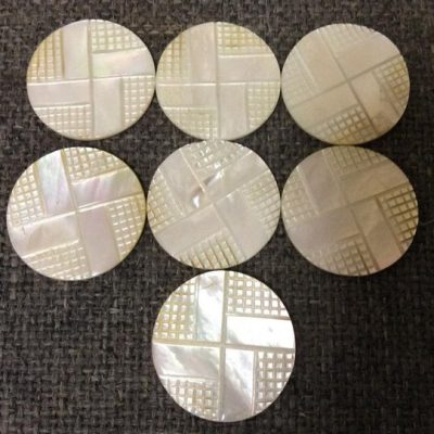 """1 3/8"""" Genuine White Mother of Pearl Carved Disks"""
