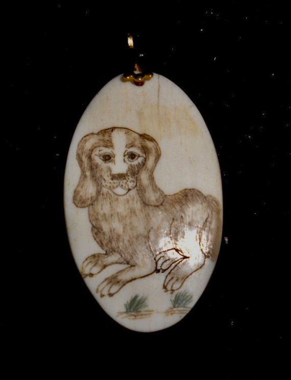 YEAR of the DOG pendant*SCRIMSHAW Carving on Cow Bone*Arrives on 32 Inch  Black Satin Cord