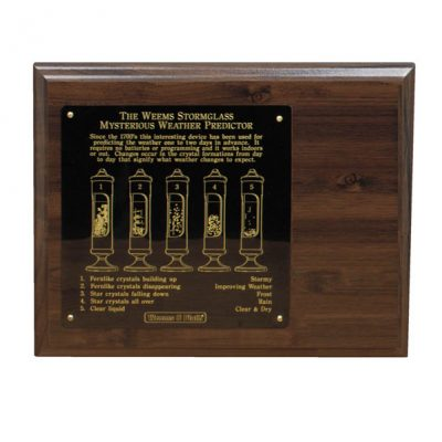 Weems & Plath Stormglass Display, 8x10 Wood Display with engraved plate for #200